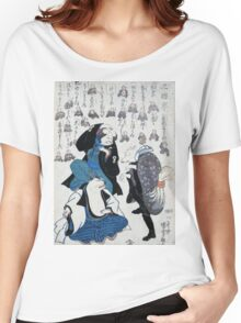 Utagawa Yoshifuji - Ken,A Game Of Gestures 1852. Dog painting: cute dog, dogs, doggy, lucky, pets, wild life, animal, smile, little small, kids, nature Women's Relaxed Fit T-Shirt