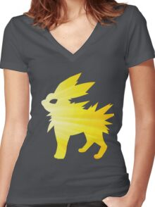 lightning bolt Women's Fitted V-Neck T-Shirt