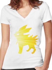 lightning bolt Women's Fitted V-Neck T-Shirt