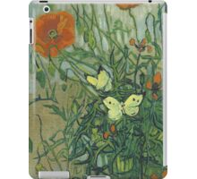 Vincent Van Gogh - Butterflies And Poppies. Still life with flowers: flowers, blossom, nature, botanical, floral flora, wonderful flower, plants, cute plant for kitchen interior, garden, vase iPad Case/Skin