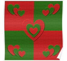 red and green heart pattern Poster