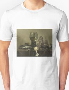 Willem Claesz Heda - Still Life With Oysters, A Rummer, A Lemon And A Silver Bowl . Still life with fruits and vegetables: Lemon, glass of wine, tasty, gastronomy food, flowers, dish, cooking, kitchen Unisex T-Shirt
