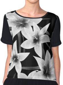 Seamless pattern with white lilies monochrome texture on black background Chiffon Top