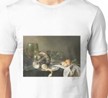 Willem Claesz Heda - Still-Life . Still life with fruits and vegetables: fruit, vegetable, glass of wine, tasty, gastronomy food, flowers, dish, cooking, kitchen, vase Unisex T-Shirt