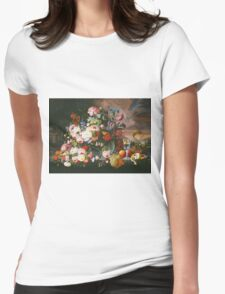 Severin Roesen - Still Life Of Flowers And Fruit With A River Landscape In The Distance. Still life with flowers: bouquet, bumblebee , carnations, peonies, roses, tulips, marigolds, garden, blossom Womens Fitted T-Shirt