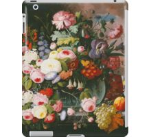 Severin Roesen - Still Life Of Flowers And Fruit With A River Landscape In The Distance. Still life with flowers: bouquet, bumblebee , carnations, peonies, roses, tulips, marigolds, garden, blossom iPad Case/Skin