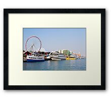 Navy pier with Ferris wheel Chicago harbor Illinois, USA Framed Print