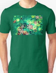Grungel Floral on Green Background Unisex T-Shirt