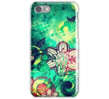 Grungel Floral on Green Background iPhone Case/Skin