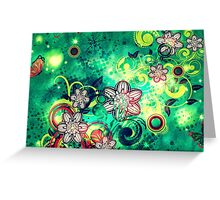 Grungel Floral on Green Background Greeting Card