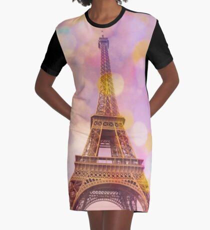 Eiffel Tower Sunset Graphic T-Shirt Dress
