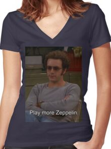 Play More Zeppelin Women's Fitted V-Neck T-Shirt
