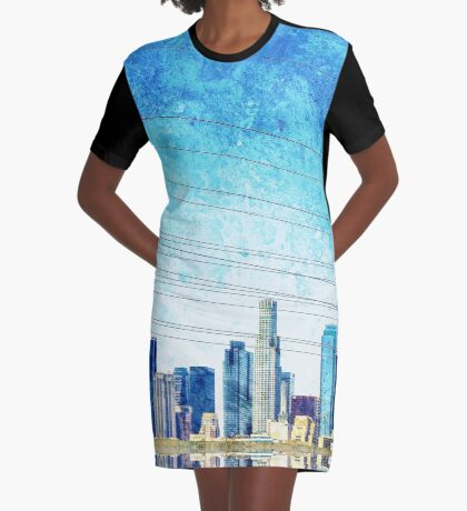 Los Angeles Skyline Graphic T-Shirt Dress
