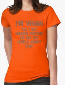 Funny Vegan Protien B12 Womens Fitted T-Shirt