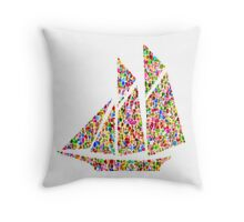 red yacht Throw Pillow