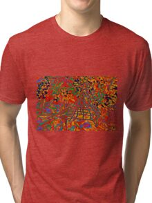 WIRE BIRD IN THE FLOWERS Tri-blend T-Shirt