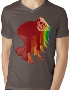 Racing Rainbow Skeletons Mens V-Neck T-Shirt