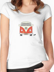 Volkswagen retro car, peace and love Women's Fitted Scoop T-Shirt
