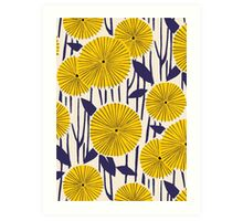 Round yellow floral pattern Art Print