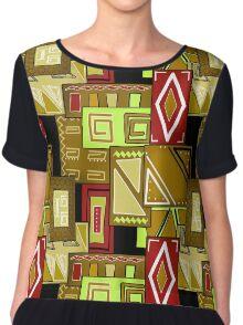 Patchwork seamless geometric folk pattern texture background Chiffon Top