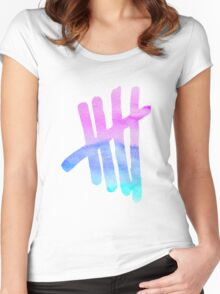 5SOS Tally (Lilac and Aqua Watercolour/Watercolor) Women's Fitted Scoop T-Shirt