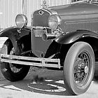 1931 Model A Ford- Front side view  b&w by henuly1