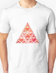 Red Heart Sierpinski Triangle Unisex T-Shirt