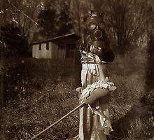 Portrait with hobby horse by strawberries