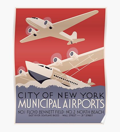 City Of New York Municipal Airports Vintage Travel Poster Poster
