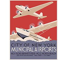 City Of New York Municipal Airports Vintage Travel Poster Photographic Print