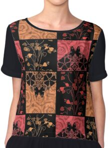 Patchwork seamless lace retro floral hearts Chiffon Top