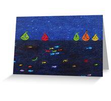 Sea Scene: Rainbow Fish and Boats Greeting Card