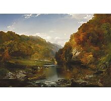 Thomas Moran - Autumn Afternoon, The Wissahickon. Forest view: forest , trees,  fauna, nature, birds, animals, flora, flowers, plants, field, weekend Photographic Print