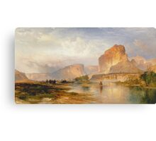 Thomas Moran - Cliffs Of Green River. Mountains landscape: mountains, rocks, rocky nature, sky and clouds, trees, peak, forest, Canyon, hill, travel, hillside Canvas Print