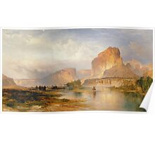 Thomas Moran - Cliffs Of Green River. Mountains landscape: mountains, rocks, rocky nature, sky and clouds, trees, peak, forest, Canyon, hill, travel, hillside Poster