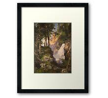 Thomas Moran - Falls At Toltec Gorge. Mountains landscape: mountains, rocks, rocky nature, sky and clouds, trees, peak, forest, Canyon, hill, travel, hillside Framed Print