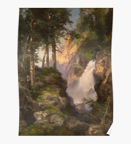 Thomas Moran - Falls At Toltec Gorge. Mountains landscape: mountains, rocks, rocky nature, sky and clouds, trees, peak, forest, Canyon, hill, travel, hillside Poster