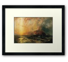 Thomas Moran - Fiercely The Red Sun Descending Burned His Way Along The Heavens. Sea landscape:  yachts view, holiday, sailing boat, coast seaside, waves beach, seascape, sun clouds, nautical, ocean Framed Print