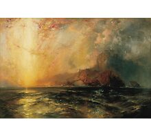 Thomas Moran - Fiercely The Red Sun Descending Burned His Way Along The Heavens. Sea landscape:  yachts view, holiday, sailing boat, coast seaside, waves beach, seascape, sun clouds, nautical, ocean Photographic Print
