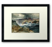 Thomas Moran - Shoshone Falls, Snake River, Idaho. Mountains landscape: mountains, rocks, rocky nature, sky and clouds, trees, peak, forest, rustic, hill, travel, hillside Framed Print