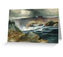 Thomas Moran - Shoshone Falls, Snake River, Idaho. Mountains landscape: mountains, rocks, rocky nature, sky and clouds, trees, peak, forest, rustic, hill, travel, hillside Greeting Card