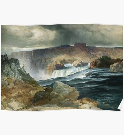 Thomas Moran - Shoshone Falls, Snake River, Idaho. Mountains landscape: mountains, rocks, rocky nature, sky and clouds, trees, peak, forest, rustic, hill, travel, hillside Poster