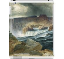 Thomas Moran - Shoshone Falls, Snake River, Idaho. Mountains landscape: mountains, rocks, rocky nature, sky and clouds, trees, peak, forest, rustic, hill, travel, hillside iPad Case/Skin