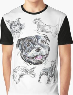 Mixed Media - Staffordshire Bull Terriers Graphic T-Shirt