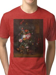 Rachel Ruysch - Roses, Convolvulus, Poppies, And Other Flowers In An Urn On A Stone Ledge. Still life with flowers:  bouquet, bumblebee , carnations, peonies, tulips,  marigolds,  garden, blossom Tri-blend T-Shirt