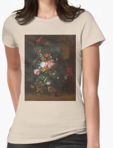 Rachel Ruysch - Roses, Convolvulus, Poppies, And Other Flowers In An Urn On A Stone Ledge. Still life with flowers:  bouquet, bumblebee , carnations, peonies, tulips,  marigolds,  garden, blossom Womens Fitted T-Shirt