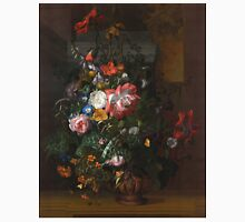 Rachel Ruysch - Roses, Convolvulus, Poppies, And Other Flowers In An Urn On A Stone Ledge. Still life with flowers:  bouquet, bumblebee , carnations, peonies, tulips,  marigolds,  garden, blossom Unisex T-Shirt