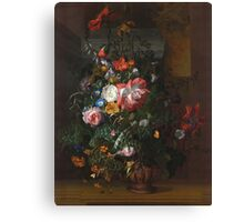 Rachel Ruysch - Roses, Convolvulus, Poppies, And Other Flowers In An Urn On A Stone Ledge. Still life with flowers:  bouquet, bumblebee , carnations, peonies, tulips,  marigolds,  garden, blossom Canvas Print