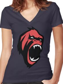 Deadly mean and mad Animal Monkey Women's Fitted V-Neck T-Shirt