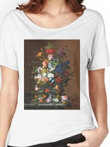Severin Roesen - Flower Still Life With Bird S Nest 1853. Still life with flowers: bouquet, flowers, bumblebee , carnations, peonies, roses, tulips, marigolds, life, garden, blossom Women's Relaxed Fit T-Shirt